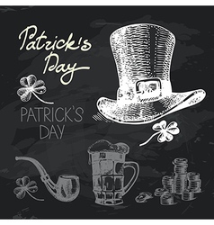 St Patricks Day hand drawn chalkboard design set vector image