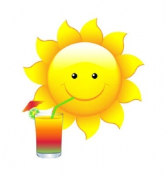 sun with cocktail vector image