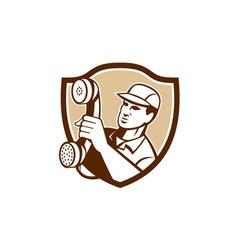 Telephone repairman holding phone shield vector