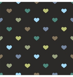 Tile pattern with hearts on black background vector image