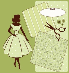 Vintage sewing element s with woman vector