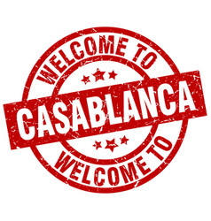 welcome to casablanca red stamp vector image