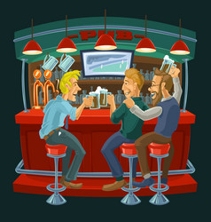 Cartoon of friends drinking beer in a vector