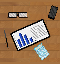 workplace desk with chart vector image