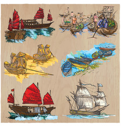 Boats - an hand drawn colored pack line art vector