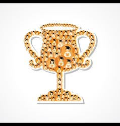 Group of male and female icons make a winning cup vector