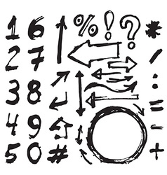 Hand drawn figures Elements symbols arrows set - vector image