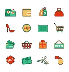 Set of shopping and sale line icons flat style vector