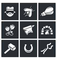 Forge icons vector