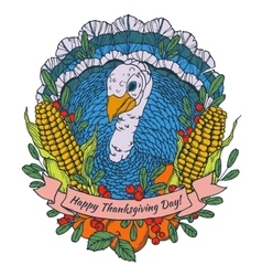 Thanksgiving day greeting card with turkey vector