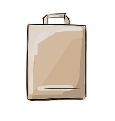 Shopping paper bag sketch for your design vector image