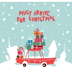 Christmass gifts for children on the car vector