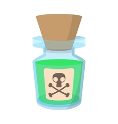 Glass bottle with poison cartoon icon vector
