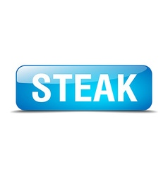 Steak blue square 3d realistic isolated web button vector