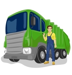 Worker next to recycling garbage collector truck vector