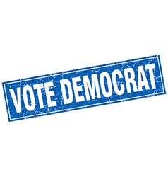 Vote democrat blue square grunge stamp on white vector