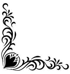 Doodle abstract handdrawn flower corner frame vector image