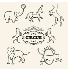 Animal emblems logos labels set vector image vector image