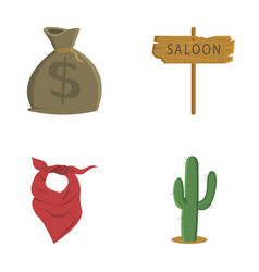 Bag of money saloon cowboy kerchief cactus vector