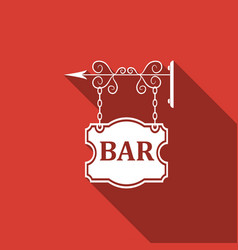 bar signboard isolated with long shadow vector image