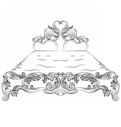 Baroque luxury style bed furniture vector