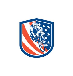 Bicycle rider usa flag shield retro vector