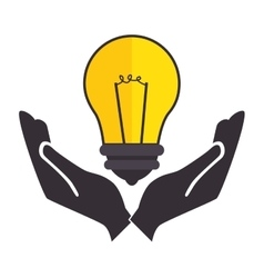 Bulb light education with hands human icon vector