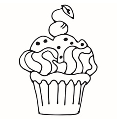 Cake with strawberry cupcake drawn in outline vector