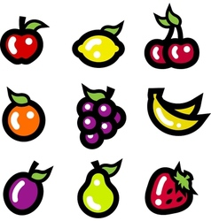 Colorful fruit icons vector