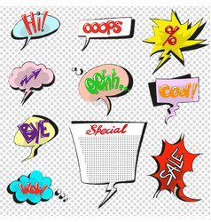 comic pop art speech bubbles collection vector image