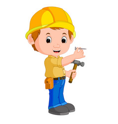 Construction worker hammering a nail vector
