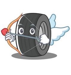 Cupid tire character cartoon style vector