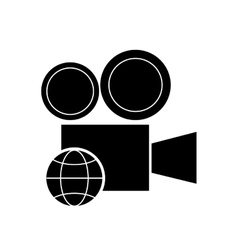 Film projector and earth globe diagram icon vector