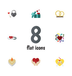 Flat icon heart set of ring emotion save love vector