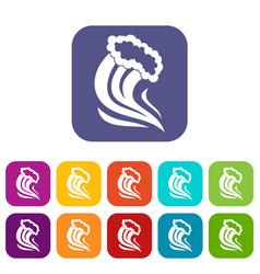 Foamy splash icons set vector