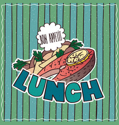 food poster with lunch vector image vector image