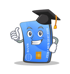 graduation credit card character cartoon vector image vector image