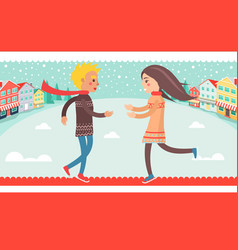 happy couple boy and girl running to each other vector image vector image