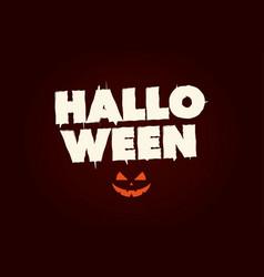 Happy halloween text logo with pumpkin vector