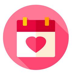 Love calendar circle icon vector