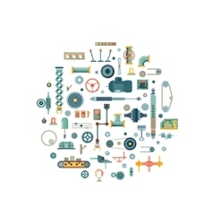 Machine parts flat icons in circle vector image