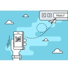 Man is scanning QR code via smartphone app vector image vector image