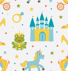 Princess frog pattern vector