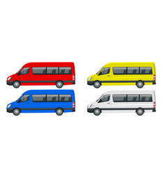 realistic set of van template isolated passenger vector image vector image