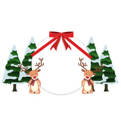 Round banner with reindeers and trees vector