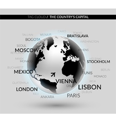 Shiny world globe with tag cloud with the capitals vector image