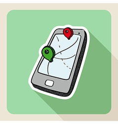 Sketch style gps smart phone vector