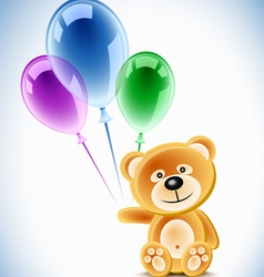 teddybear holding transparent balloons vector image