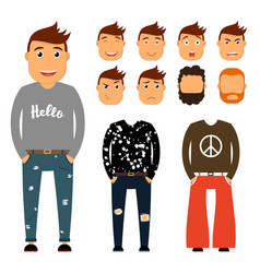 Teenager character creation set young man vector