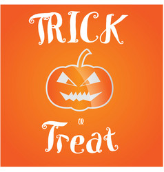 trick or treat halloween greeting card vector image vector image